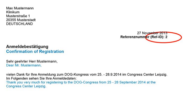 Referenz DOG14 auf Ihrem Überweisungsträger